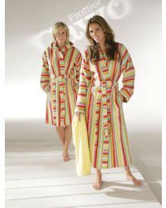 Dames kimono badstof gestreept 7082 met capuchon