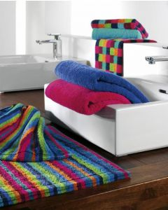Cawö Lifestyle gestreepte katoenen badmat 7048 multi color 84