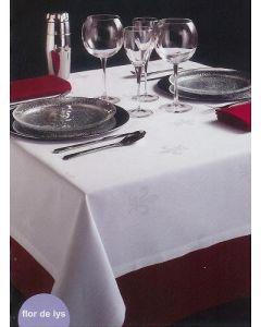 Flor de Lys damast tafelkleed wit of ivoor