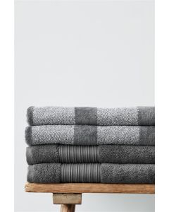 Beddinghouse Sheer Stripe handdoek katoen Antraciet