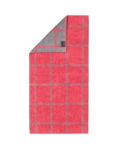 Cawö Two-Tone Grafik badstof handdoeken 604.27 rood
