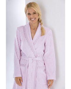 Cawö dames badjas licht velours 3423.22 malve gestreept met sjaalkraag