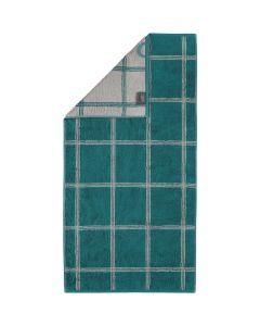 Cawö Two-Tone Grafik badstof handdoeken 604.44 smaragd
